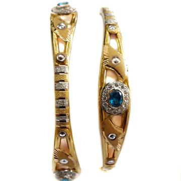 22k Gold CZ Diamond Oval Shape Copper Kadli Bangles MGA - GK019