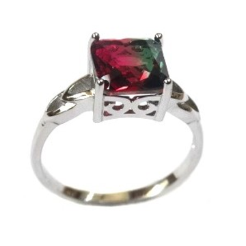 925 Sterling Silver Fancy Multi Coloured Stone Ring MGA - LRS1562