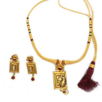 916 Gold Antique Bridal Necklace Set RHJ-3796