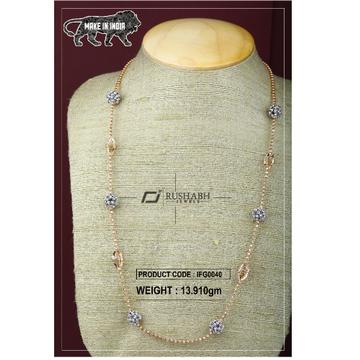 18 carat Italian ladies fancy gold chain round shape ifg0040