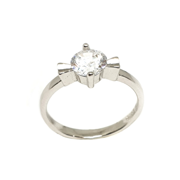 925 Sterling Silver Solitaire Diamond Ring MGA - LRS3366