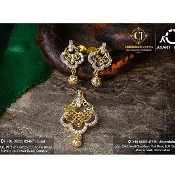 18K Gold CZ Fancy Pendant Set by Anant Orna