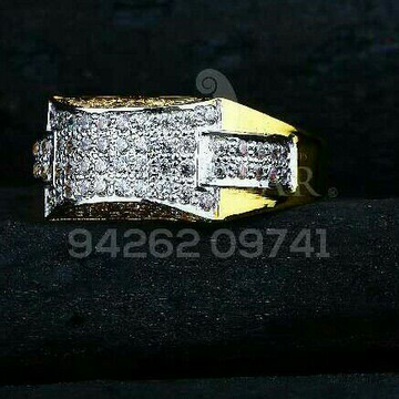 Gold Cz Fancy Gents Ring 916