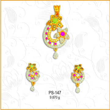 916 Gold Pink Stone CZ Pendant Set PS-147