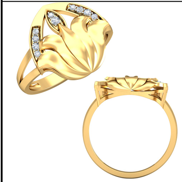 22KT Yellow Gold Twin wingflow Ring For Women