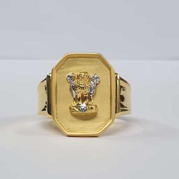 22kt Gold Dull Polish Ashok Stambh ring for Men