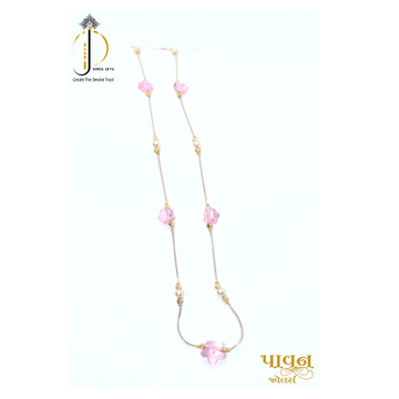18KT Gold Delicate chain with Pink Color Stone For Ladies CHG0381