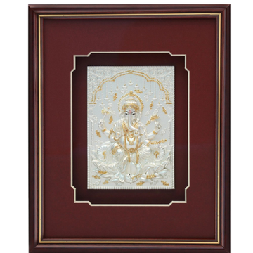 Lotus ganesha 999 pure silver god photo frame RJ-SGA003