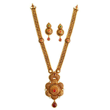 22k Gold Flower Shaped Antique Rajwadi Necklace Set MGA - GLS055