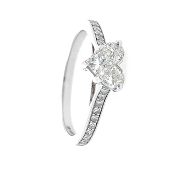 18kt / 750 white gold classic heart diamond ladies ring 9lr325