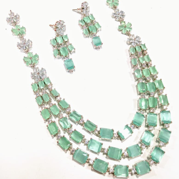 White and light green cz necklace set jmk0003