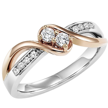 Two tone designer diamond ring