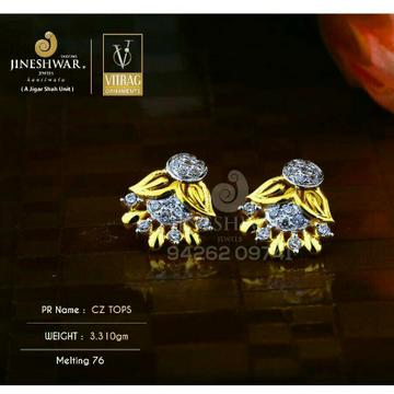 18kt Fancy Designer Gold Cz Ladies Tops ATG -0563