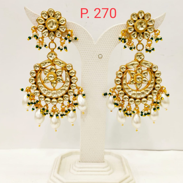 Gold tone flower shape kundan work long earring with hanging Pearl 1714