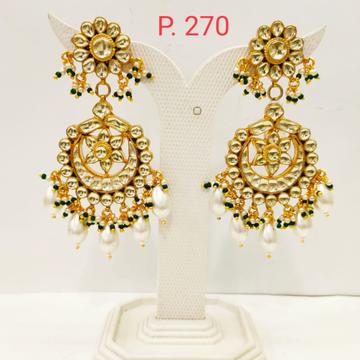Gold tone flower shape kundan work long earring wi...