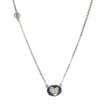 925 Sterling Silver Heart Shape Necklace MGA - NKS0027