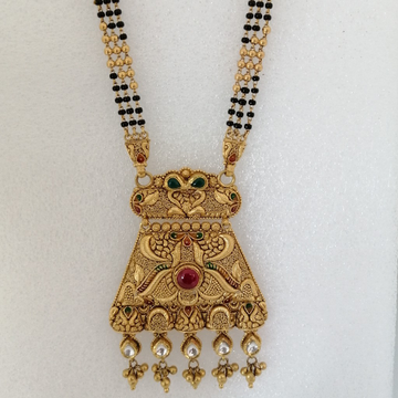 916 gold antique red stone mangalsutra by Vinayak Gold