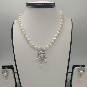WhiteCZ And Pearls PendentSet With 1Line ButtonJali Pearls Mala JPS0410