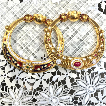 22KT Gold Antique Kundan Kada