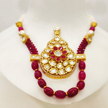 Hand made antique ruby necklace set for women 1459