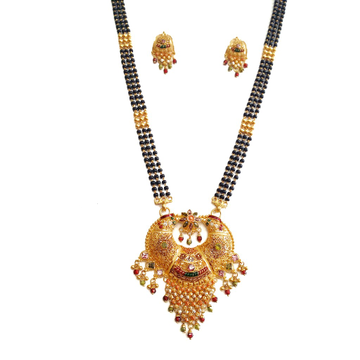 916 Gold Kalkatti 3 Line Mangalsutra With Earrings MGA - GM021