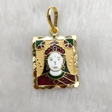 916 gold chehar maa minakari pendant