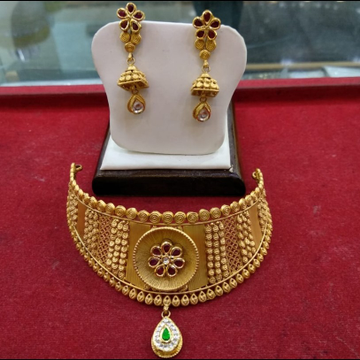 Antique jadtar chokar fix necklace Set STG0243