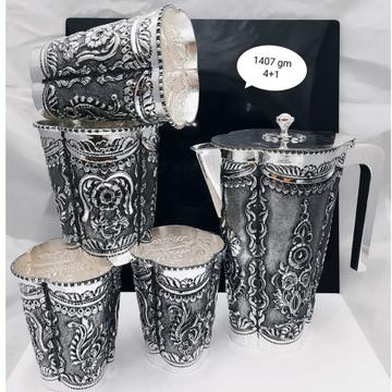 925 pure silver stylish shape jug set in fine naka...