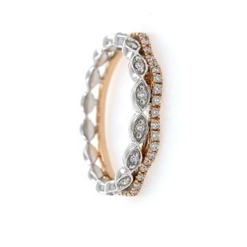 18kt / 750 Rose gold fancy diamond Ladies ring 9LR...