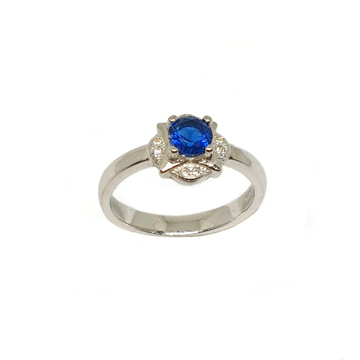 925 Sterling Silver Blue Stone Ring MGA - LRS3493