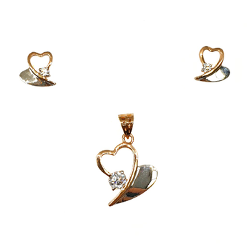 18K Rose Gold Heart Shaped Solitaire Diamond Pendant Set MGA - PTG0125