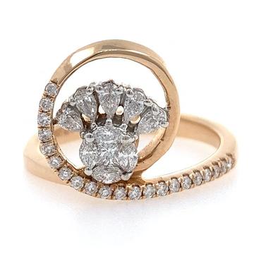18kt / rose gold floral micro set diamond ring 8lr203