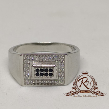 92.5 silver square daimond gents ring Rh-Gr949