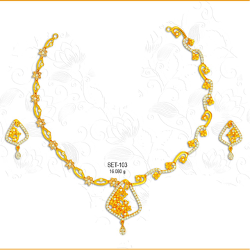 22KT CZ Gold Designer Ladies Necklace Set-103