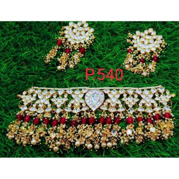 Whit Pachi Kundan And Maroon Beads Combination Jewellery1075