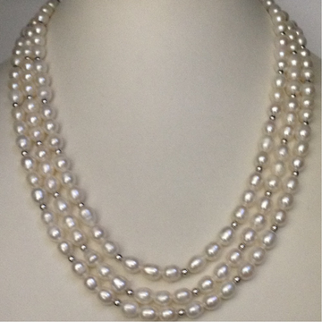 Freshwater White Oval Pearls 3 Layers necklace with White Jaco balls
