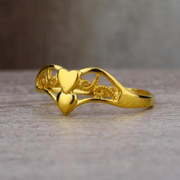Ladies 22K Gold Double Heart Ring -LPR65