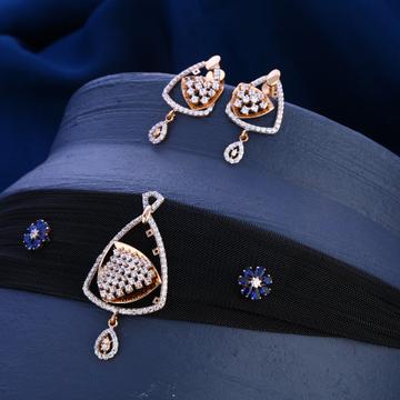 18KT  Rose Gold CZ  Designer Diamond Necklace Set...
