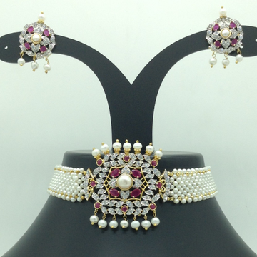 White, Red CZ and Pearls Choker Set With Seed Pear...