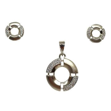 925 Sterling Silver Round Shaped Modern Pendant Set MGA - PTS0124