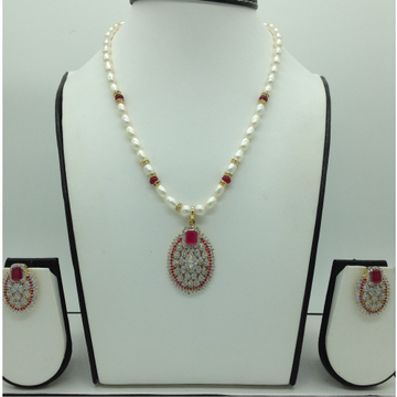 White,Red CZPendentSet With OvalPearls Mala JP...