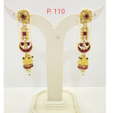 Traditional Gold plated Ruby stone Long Earring Jhumka 1677