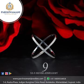 92.5 Sterling Silver Cz Fancy Ramola Ring For Women