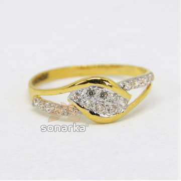 22ct 916 Gold Casting CZ Diamond Ladies Ring with Rodihum