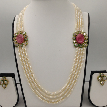 White cz and pink semi precious stone brooch set with 4 lines flat pearls mala jps0460