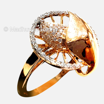 18KT Rose Gold Modern Diamond Ring