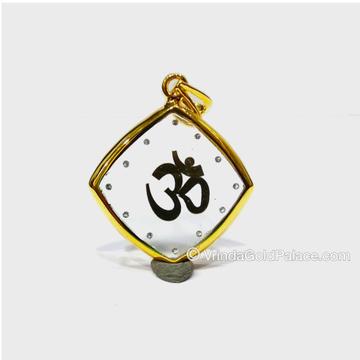Light Weight Om Design Gold Diamond Pendant