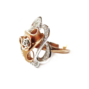 18k rose gold flower shape ring mga - rgr0030