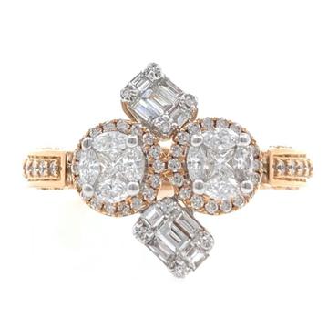 18kt / 750 rose gold designer pendant cum diamond ladies ring 9lr141