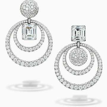 Designer white gold earring